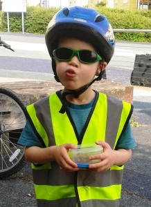 MyItchyBoy with mouth full of flapjacks on our weekend cycling trip