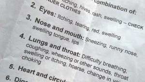 Allergy cheat sheet